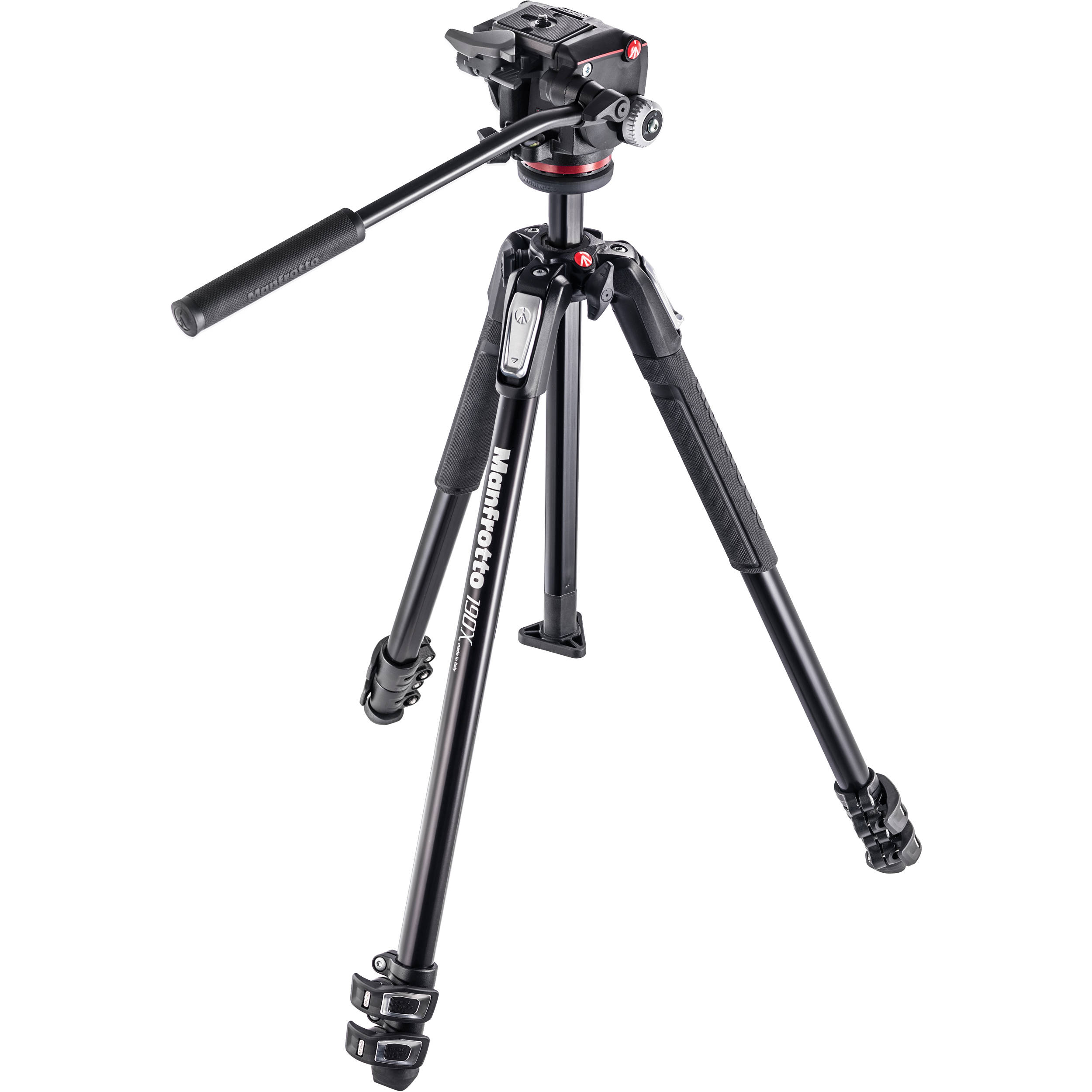 Manfrotto 190x3 Three Section Tripod With Mhxpro 2w Mk190x3 2w