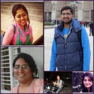 Clockwise: Shwetha, Sriranjan, Sahithya, Uttara and Shubhadra