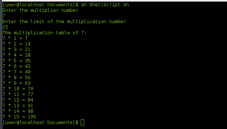 Shell Script To print the multiplication table of a given number
