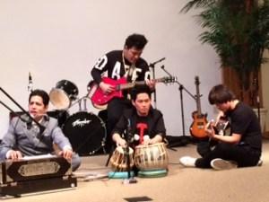 Govinda, Rajesh, Sandeep and Kanchan on the stage
