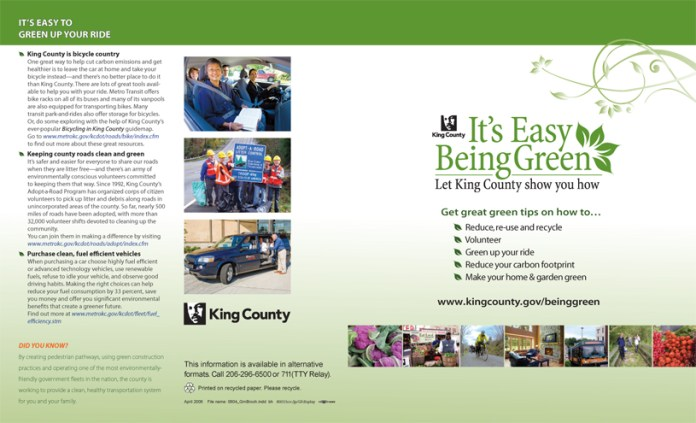 King County Green Festival brochure (exterior)