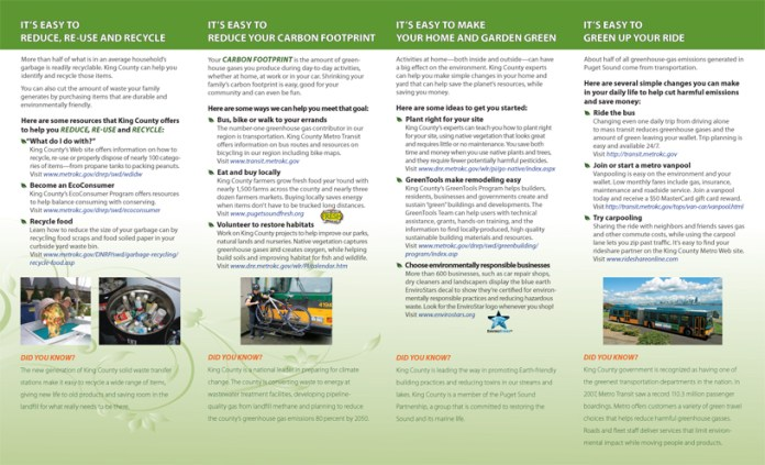 King County Green Festival brochure (interior)