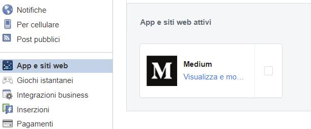 App e siti web che condividono dati con Facebook