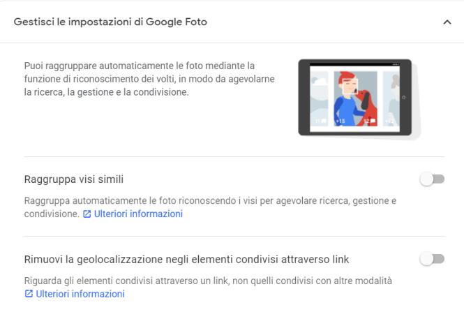 Impostazioni di Google Foto per il riconoscimento facciale avanzato