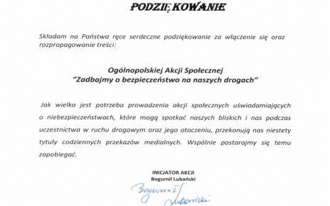 """Podziękowanie za udział w ogólnopolskiej akcji społecznej """"Zadbajmy o bezpieczeństwo na naszych drogach"""""""