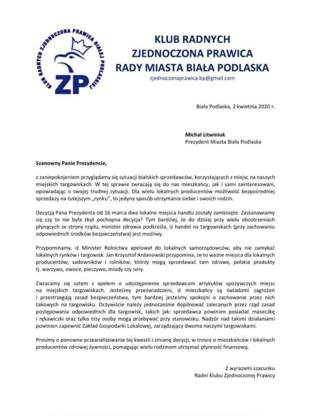 Apel radnych Zjednoczonej Prawicy w sprawie miejskich targowisk w Białej Podlaskiej