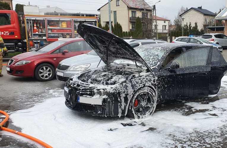 Pożar samochodu w Międzyrzecu Podlaskim