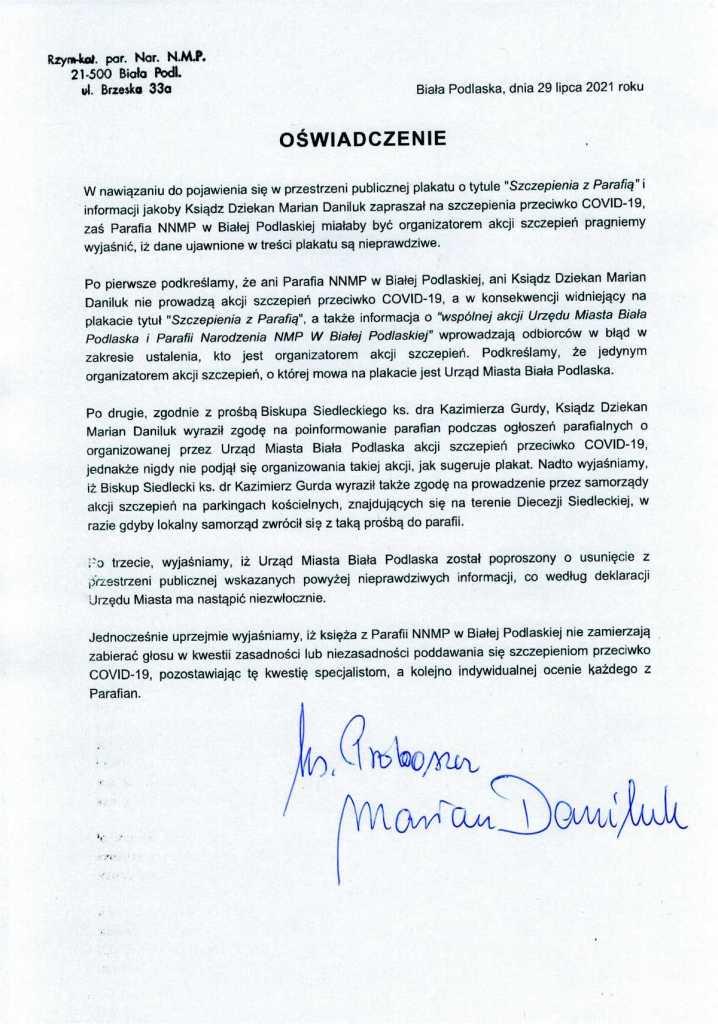 oświadczenie ks. Daniluka
