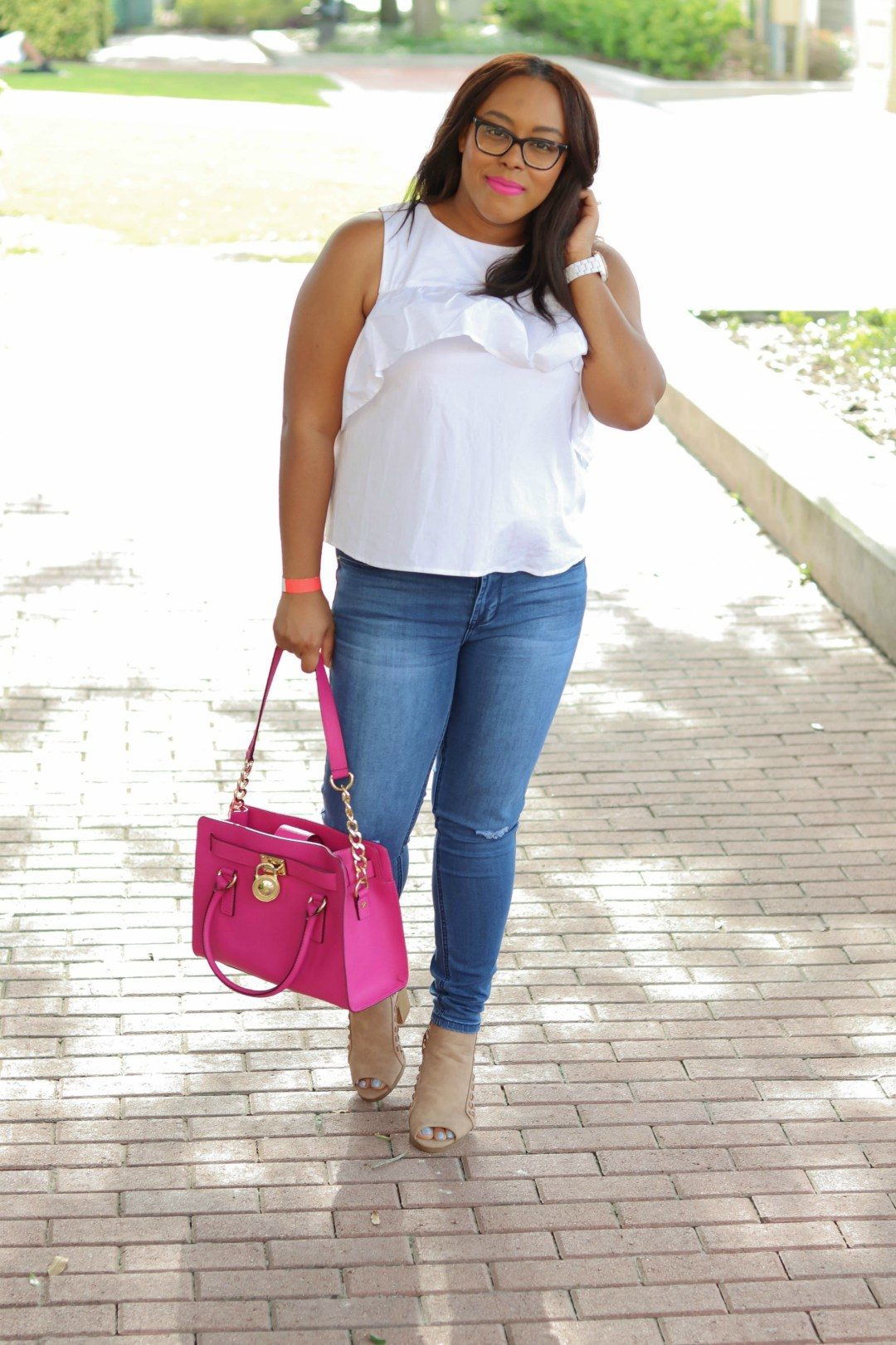 Classic Denim and White Ruffle Top