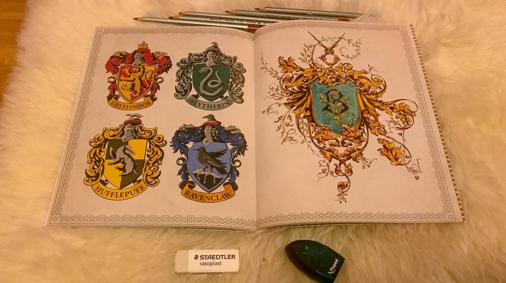 harry potter kleurboek hogwarts houses