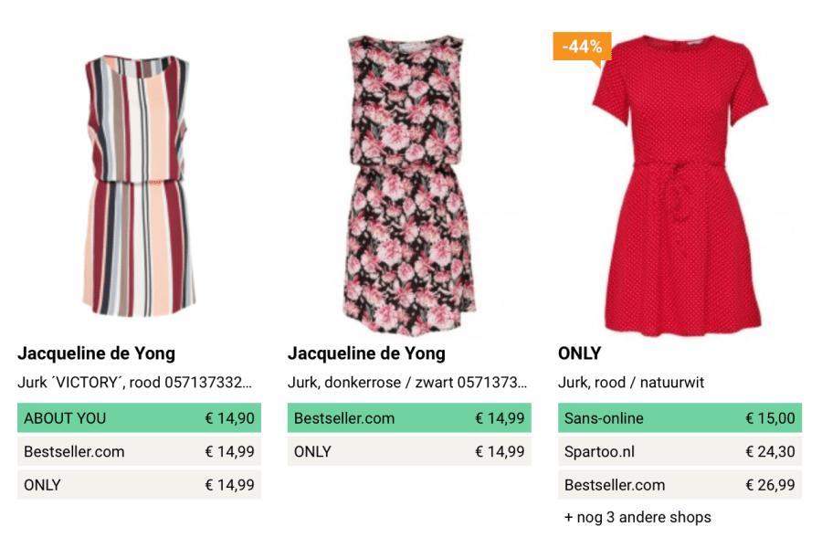 Screenshot jurk kleding.nl