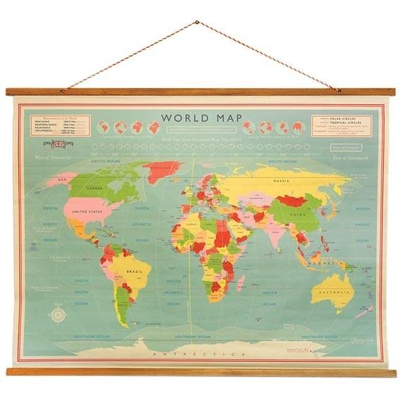 vintage wereldkaart schoolplaat wereldkaarten.nl