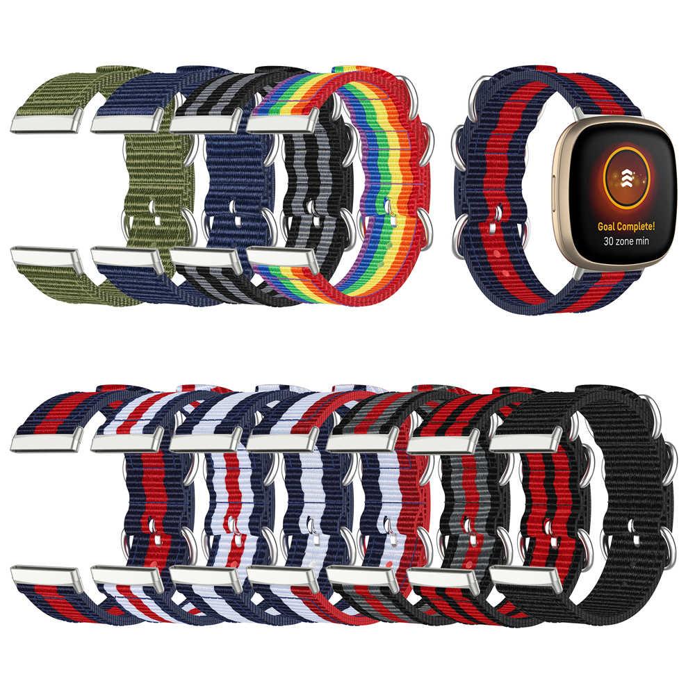 Versa-3-Nylon-Canvas-Horlogeband-Voor-Fitbit-Versa-3