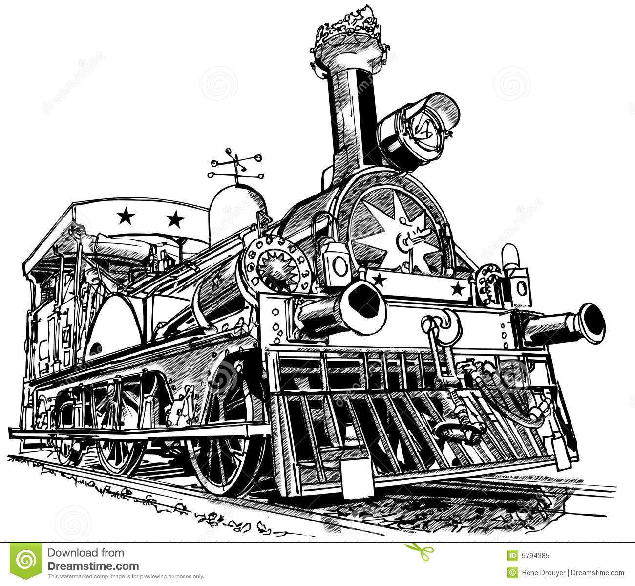 Old Steam Train Drawing