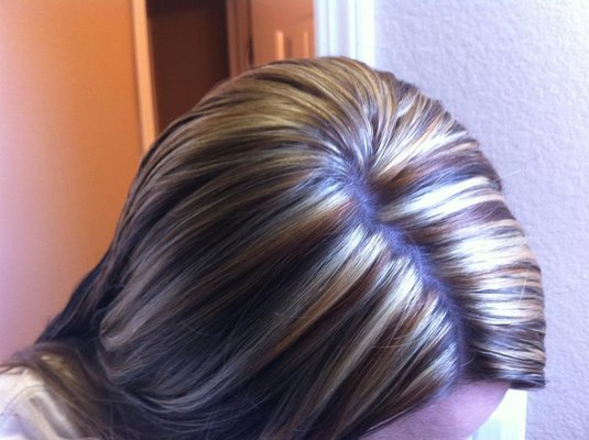 Dark Brown And Blonde Chunky Highlights
