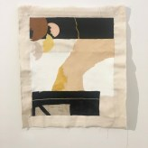 'Untitled' 2018. Acrylic, gesso, Flashe and fabric collage on raw cotton. 40 x 50 cm. Installation view, SVA summer residency exhibition NYC.