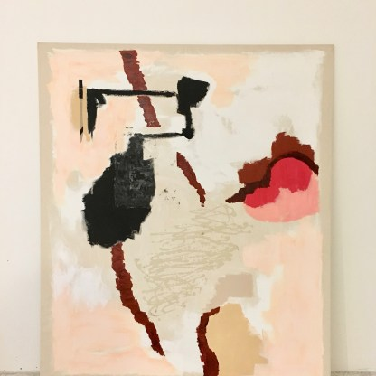 'Untitled' 2018. Acrylic, gesso, Flashe and fabric collage on raw cotton. 145 x 165 cm. Installation view, SVA summer residency exhibition NYC.