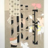 'This begins, this ends' 2020. Acrylic, collage and graphite on linen, 80 x 100 cm.