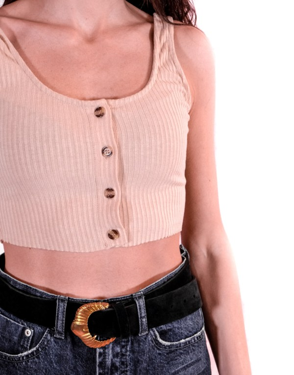 GLAMOROUS - Crop top in cotene a coste