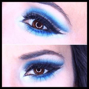 Maquillaje de ojos en tonos azules con pigmentos - Mac Cosmetics