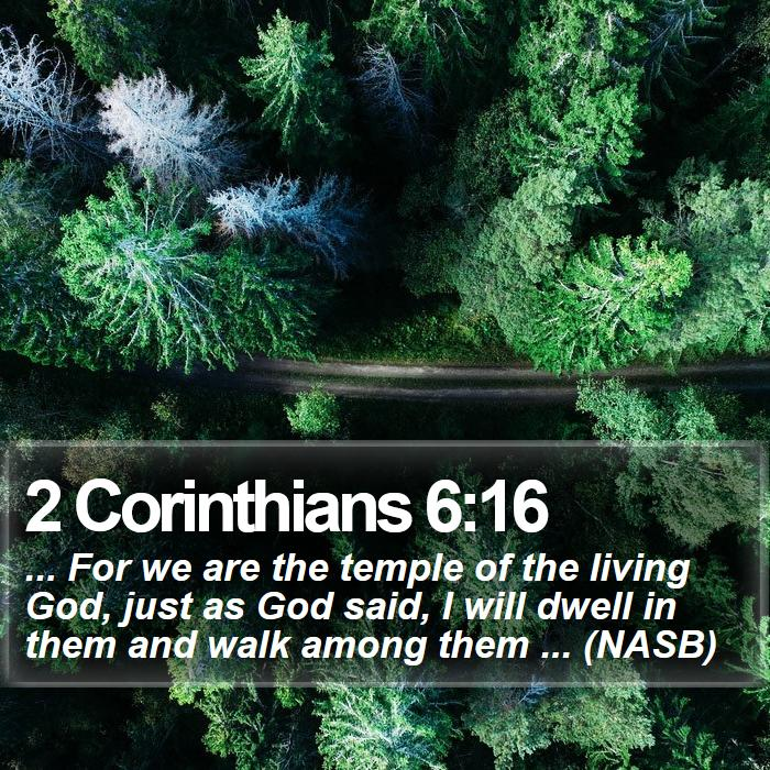 2 Corinthians 6:16 - ... For we are the temple of the living God, just as God said, I will dwell in them and walk among them ... (NASB)