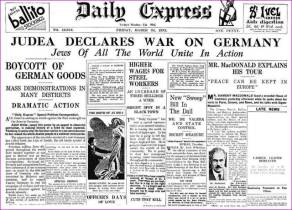 London Daily Express, March 24, 1933. Judea Declares War on Germany