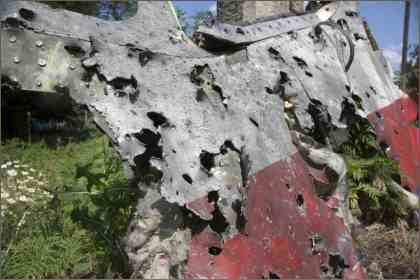 bullet-riddled cabin of MH17