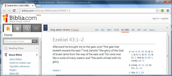 Biblis Bible reference on Adobe DE PC display