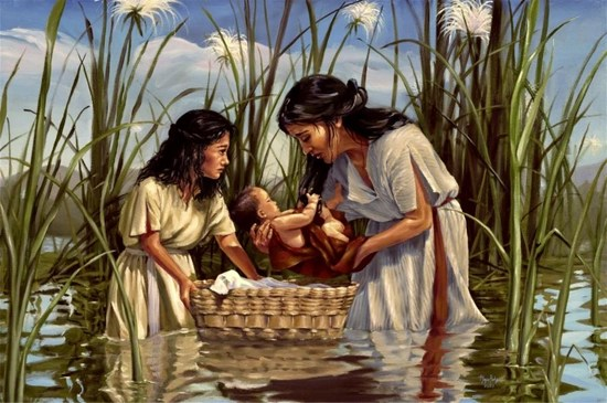 Baby Moses in a basket on the Nile