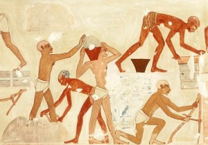 Egyptian relief showing slaves making bricks