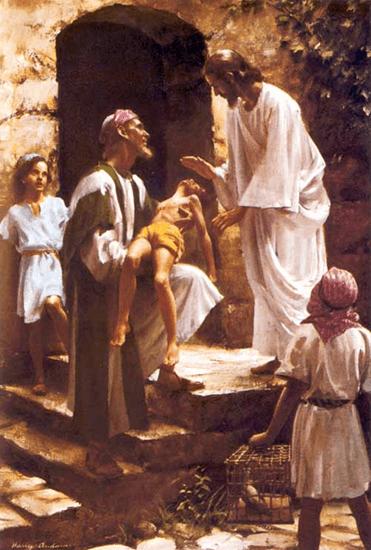 Jesus heals a sick boy - Artist unknown