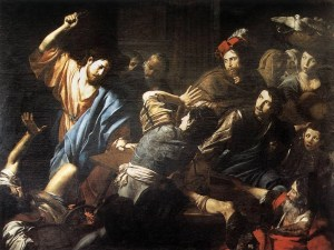 Christ Driving the Money Changers out of the Temple - Valentin de Boulogne (1618)