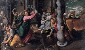 Driving of the merchants from the temple - Scarsellino (about 1580)