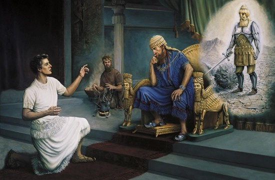 A painting by Grant Romney Clawson showing David kneeling before King Nebuchadnezzar on his throne, interpreting the figure from his dream.