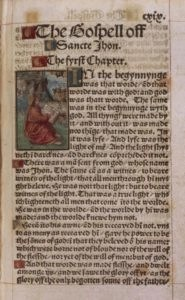 Gospel of John from 1526 edition of William Tyndale's New Testament Bible