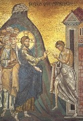 Jesus healing a leper (mosaic) by Byzantine School, (12th century) mosaic. Duomo, Monreale, Sicily, Italy