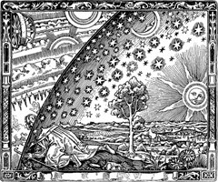 Flammarion engraving - wood engraving by unknown artist (1888)