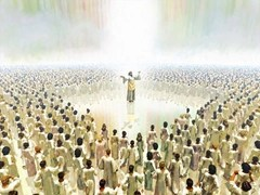 Jesus stands in the middle of the Great Multitude wearing white robes