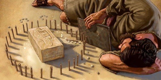 Ezekiel laying on his side facing a clay block with Jerusalem inscribed on it - Artist unknown