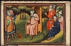 The Prophet Ezekiel shaves his head and burns his hair - Artist unknown