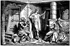 Joseph interprets the dreams of the cupbearer (butler) and the baker