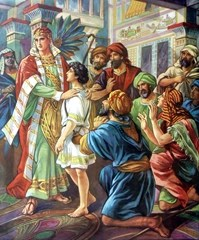 Joseph meets Benjamin and his brothers - Artist Unknown