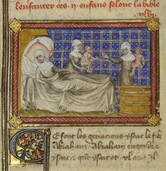 The birth of Esau and Jacob, Master of Jean de Mandeville, about 1360-1370