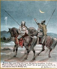 Wise Men (Magi) follow a star to find baby Jesus