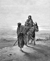 Joseph, Mary, and Jesus flee to Nazareth