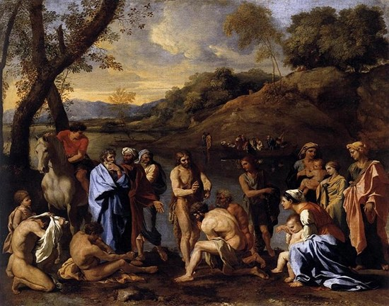 St John the Baptist Baptizes the People, circa 1635, by Nicolas Poussin