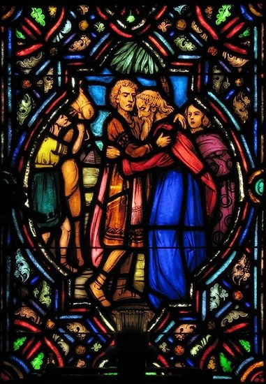 Jacob reunites with Joseph - stained glass window - Artist and location unknown