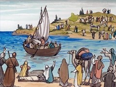 Jesus teaches from a boat - courtesy Free Bible Images - Artist unknown