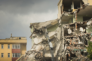 Earthquake damages building