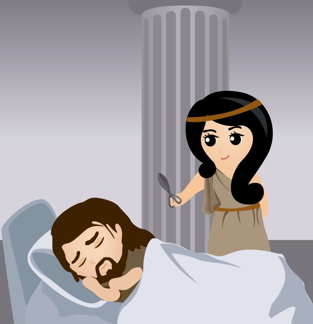 Bible Stories: Illustration of Samson and Delilah